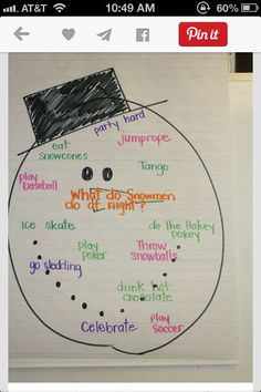 What do snowmen do at night? Anchor chart