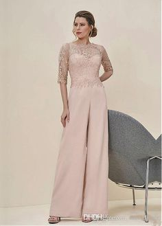 2019 Lace Top Jumpsuits Formal Mother Of The Bride Pant Suits Half Sleeves Wedding Guest Dress Chiffon Plus Size Brides Mothers Dresses Mother Of The Bride Suits, Mother Of Groom Dresses, Mothers Dresses, Event Dresses, Ball Dresses, Ball Gowns, Bride Dresses, Wedding Dresses, Occasion Dresses