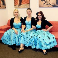 HOW CUTE IS OUR STAFF!?? Repost from @cosmopop That moment when you get to work and realize almost everyone unexpectedly wore the same dress... Shop the Deadly Dames Downtown Dame swing dress in sizes XS - 4X now at www.pinupgirlclothing. <3 Micheline #triplets #pinupgirlclothing #gotthememo #vintage #polkadots #puglife #pinupgirlstyle #pinupstyle #deadlydames #vintageinspired