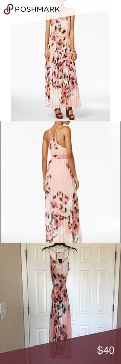 {B Darlin} Floral Pleated Pink Maxi Dress - 9/10 Excellent condition! Only worn once! It's a beautiful pink and white floral print, with a strappy sleeveless top. Purchased for my bridal shower! B Darlin Dresses Maxi
