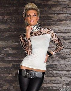 Damen Shirt Rollkragen Top Leo-Print Transprent Talliert T-Shirt Pulli 34/36