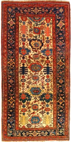 "Antique Bijar Rug – Circa: 1875 Sizes: 4.8X9.4 classic ""harshang"" pattern"