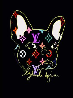 LV and French Bulldog illustration, Louis Vuitton