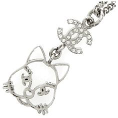 Pre-owned Chanel Silver Tone Hardware Rhinestone Cat Motif Pendant... ($568) ❤ liked on Polyvore featuring jewelry, necklaces, rhinestone necklace, chanel, pre owned jewelry, rhinestone chain necklace and rhinestone pendant necklace