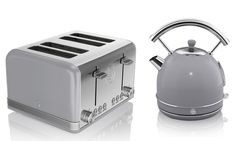 Swan Retro Dome Kettle and Two- or Four-Slice Toaster Set Four Slice Toaster, Kettle And Toaster Set, Cord Storage, Lamp Cord, Luxury Kitchen Design, Chrome Handles, Swan, Kitchen Remodel, Kitchen Appliances