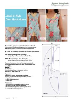 Free Pattern, Tutorial and Sewing Video – Cross back apron for adult and kids – Japanese Sewing, Pattern, Craft Books and Fabrics Apron Pattern Free, Sewing Patterns Free, Free Sewing, Sewing Tutorials, Sewing Crafts, Apron Patterns, Sewing Projects, Pattern Sewing, Sewing Hacks