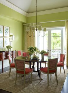 Give me your tired, your poor, your... yearning for spring! - laurel home | fabulous colorful dining room by Ashley Whittaker | I wonder if she has a secret for maintaining sisal rugs!