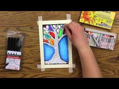 Oil Pastel Lesson - STAINED GLASS TREE - YouTube