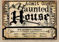 halloween haunted house ticket invitation by LisaMariesPaperie