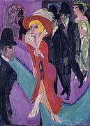 Kirchner, Calle con buscona de rojo, 1914-1925. Museo Thyssen Bornemisza.