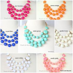 J. Crew Inspired Multi Strand Bubble necklace 7 Colors Candy Necklace Mint Pink Blue Ivory Fuchsia White Orange