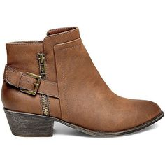 Madden Girl by Steve Madden Women's Hunttz Booties ($70) ❤ liked on Polyvore featuring shoes, boots, ankle booties, ankle boots, black paris, buckle boots, cognac booties, cognac boots, lined boots and steve-madden ankle booties