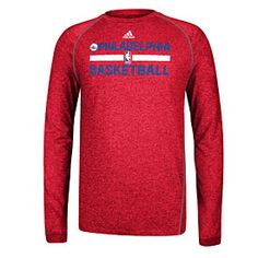 6c3828b7542 Get this Philadelphia 76ers Practice Performance Long Sleeve T-Shirt at  PhillyTeamStore.com Philadelphia