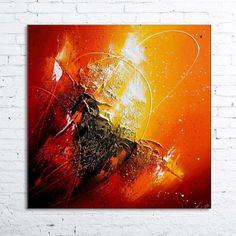 """Peinture moderne à l'huile """"ORIONIS"""" Tableau abstrait contemporain toile en relief noir rouge orange jaune doré blanc:"""
