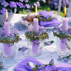 A pretty purple table setting