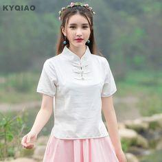 KYQIAO Traditional Chinese clothing 2017 women summer ethnic M-2XL white pink blue green mandarin collar frog blouse shirt