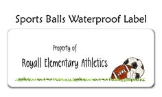 Sport Balls Waterproof Label- A soccer ball, football and baseball sit together on some grass ready to play. Perfect for labeling your sports gear! Sports balls waterproof labels sold by the sheet. 30 round edged waterproof sticky labels on each sheet.