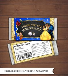 Beauty and the Beast Chocolate Bar Wrapper - Missy's Quince - Beauty And The Beast Wedding Theme, Beauty And Beast Birthday, Disney Beauty And The Beast, Beauty Beast, Candy Bar Labels, Candy Bar Wrappers, Birthday Love, 1st Birthday Parties, Special Birthday