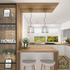 Kitchen Room Design, Modern Kitchen Design, Home Decor Kitchen, Interior Design Kitchen, Kitchen Furniture, New Kitchen, Home Kitchens, Small Kitchen Bar, Kitchen Modular