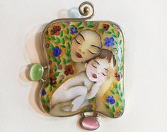 The item is made using Georgian unique technique of making fire cloisonné enamel. This technique is dating back to medieval centuries. The work is influenced and inspired by modern Georgian, as well as European and American design, arts and literature.  The casing is made of sterling silver.  Dimensions: 50 mm X 40 mm  • Please send us your phone number, which should be indicated on the shipping bill •  The item comes in gift box.  Please, feel free to contact us for any questions, comments…