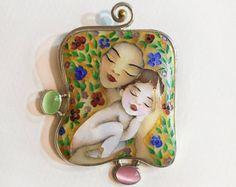 Cloisonné glazuur ketting van TatiaEnamel op Etsy