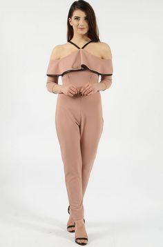 Cold Shoulder Frill Rose Jumpsuit
