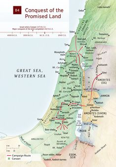 Study Bible: Map of the conquest of the Promised Land. From Israel's entry into Canaan until the major conquest was complete. Bible Study Tools, Scripture Study, Bible Mapping, Religious Studies, Religious Icons, Bible Studies, Bible Illustrations, By Any Means Necessary, Bible Knowledge