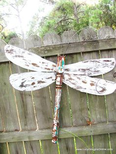 Dragonflies - chair/table leg, ceiling fan blade wings, and layered paint.  You can also have metal or wire wings, those instructions are on the website.