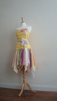 Rainbow Dress Upcycled Woman's Clothing Romantic via Etsy