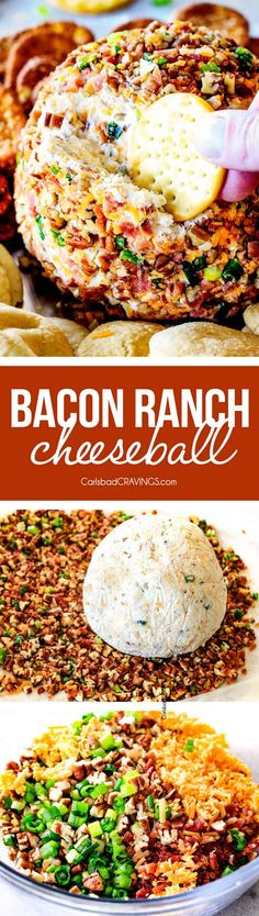 This Bacon Ranch Cheese Ball is a hit every time I make it and. This Bacon Ranch Cheese Ball is a hit every time I make it and is always the first appetizer gone! Its super easy and make ahead for stress free entertaining! Finger Food Appetizers, Appetizers For Party, Appetizer Recipes, Snack Recipes, Dinner Recipes, Cooking Recipes, Beef Recipes, Hamburger Recipes, Turkey Recipes