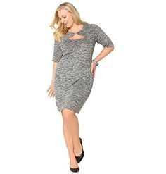 AVENUE Womens Heathered Cutout Dress 1820 Black *** Want to know more, click on the image.