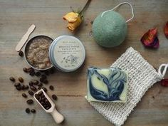 Gift set 'ESSENTIALS MINI' with face scrub, natural soap, konjac sponge & surprise gift, Natural Bod Coffee Face Scrub, Natural Face Cream, Organic Coconut Milk, Vegan Soap, Natural Herbs, Lotion Bars, Natural Essential Oils, Sweet Almond Oil, Biodegradable Products