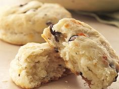 Provolone and Olive Biscuits; Zesty Kalamata olives pair well with mild-flavored provolone cheese in tender, homemade biscuits.