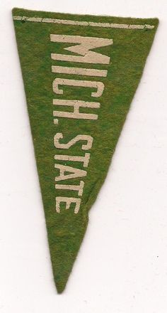 Michigan State Spartans MSU Green 1930s Vintage Felt Rare Mini Pennant Football