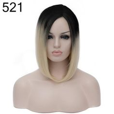 Similler Short Straight Black Root Blonde Purple Synthetic Hair Wigs For Africa American Women Afro With A Haircap