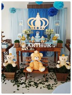 Decoration for a perfect baby shower. Teddy Bear Party, Teddy Bear Birthday, Teddy Bear Baby Shower, Baby Boy Shower, Baby Party, Baby Shower Parties, Baby Shower Themes, Boys 1st Birthday Cake, Gold Baby Showers
