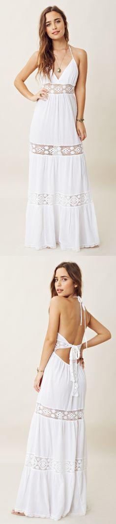 LACE INSET HALTER MAXI DRESS WHITE