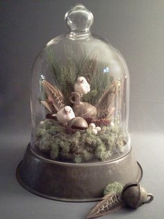 Winter/Christmas Cloche - a lovely Christmas table centerpiece.