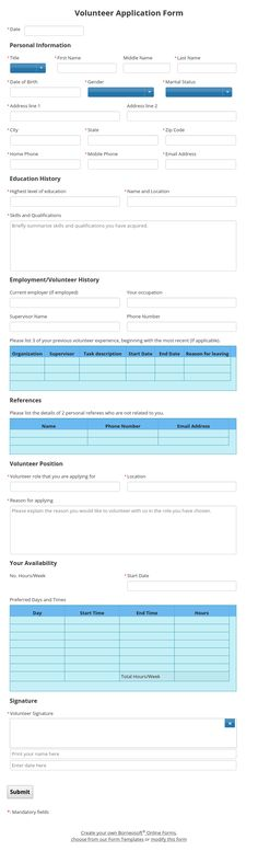 Multi tabs Form for School Admission by Borneosoft Online Forms - enrollment application template