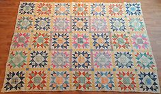 Vintage 1920`s Handmade Bearpaw Star Quilt Completely Hand Stitched | eBay