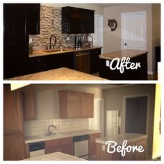 DIY Kitchen Makeover ..like the black cabinets with grey countertops to match stainless appliances