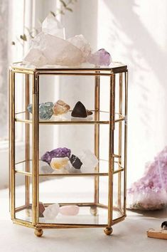 Kristallglas Fall - The Rollin J - Dekoration Glass Display Box, Display Boxes, Display Ideas, Storage Boxes, Storage Drawers, Storage Ideas, Crystals In The Home, Stones And Crystals, Jewellery Storage