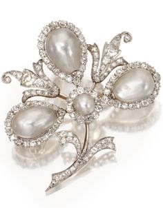 Platinum, Gold, Natural Pearl and Diamond Brooch, Circa 1900.
