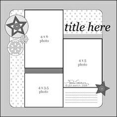 Scrapbook and card sketches created by Valerie Salmon. Scrapbook Layout Sketches, 12x12 Scrapbook, Scrapbook Templates, Card Sketches, Scrapbooking Layouts, Picture Scrapbook, Scrapbook Photos, Vacation Scrapbook, School Scrapbook