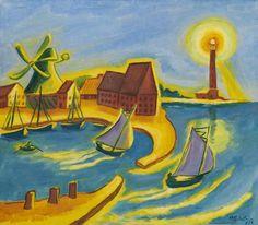 Hermann Max Pechstein, Fischerhafen auf Fehmarn, 1953. (Fisher's Harbour on Fehmarn, Germany)