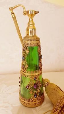 Rare-Antique-Jeweled-E-amp-J-B-Empire-Art-Gold-Green-Glass-Perfume-Bottle-Atomizer