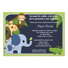 Monkey SAFARI SKY Baby Shower invitation jungle SS