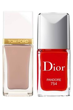 A creamy nude looks put-together even with a few tiny chips; a hot siren-red shade exudes style and confidence. Tom Ford Nail Lacquer in Sugar Dune, $32, tomford.com; Dior Vernis in Pandore, $25, dior.com. Courtesy of the Company  - HarpersBAZAAR.com