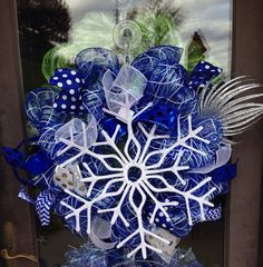 Beautiful blue winter snowflake deco mesh by ShelbyColemanCrafts, $65.00