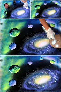 You can create a galaxy in just 30 minutes, NO art training required! In this detailed tutorial, all you need is spray paint, paper, and things you can find in your recycle bin, such as lids, cans, newspaper and cardboard! Imagine a loved one getting this as a gift! via apieceofrainbow.com